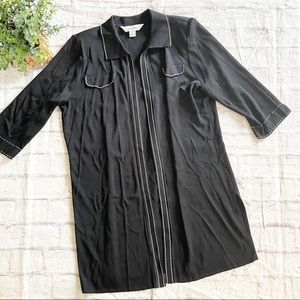 MING WANG black long duster cardigan Large L